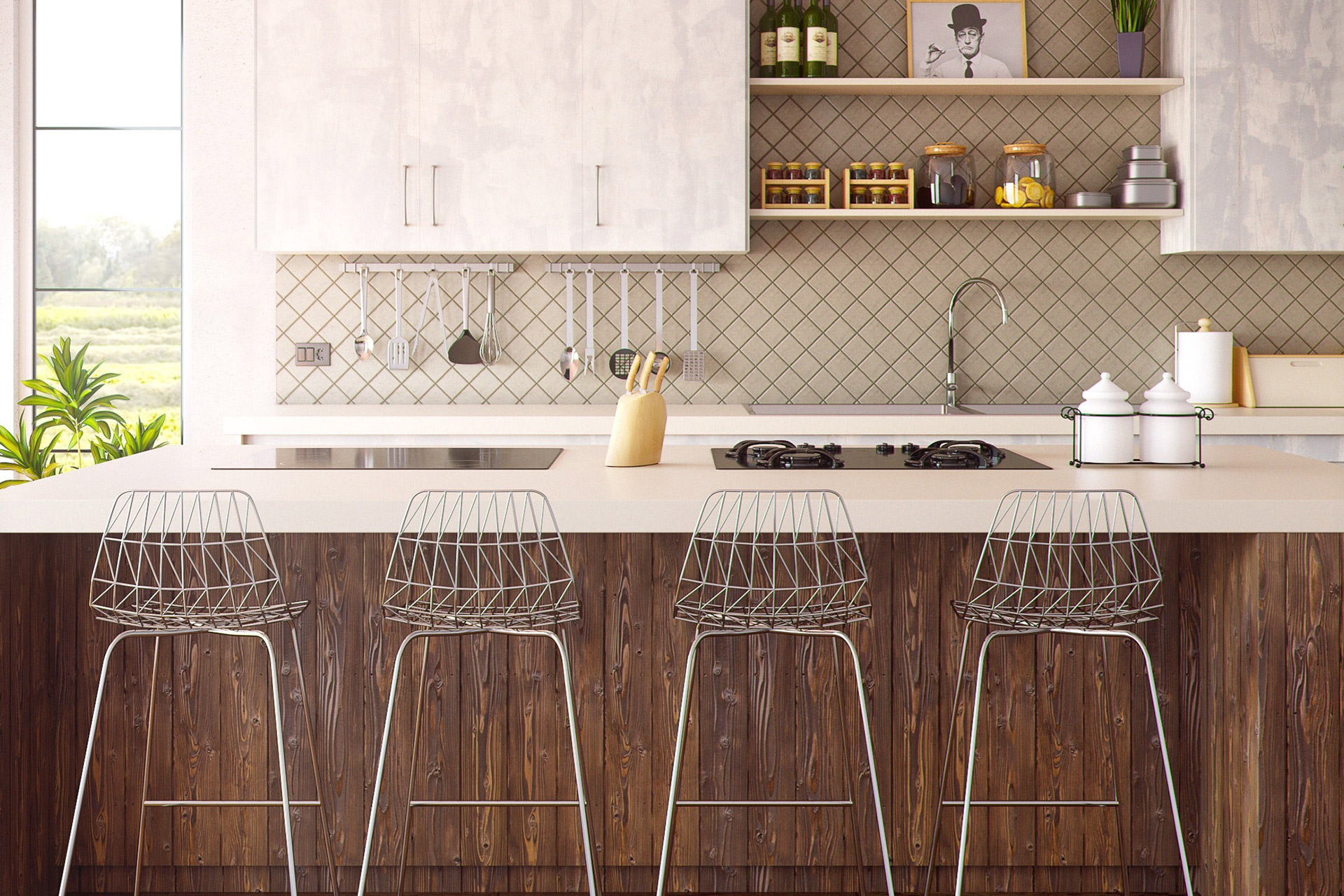 View of a modern looking kitchen with 4 bar chairs