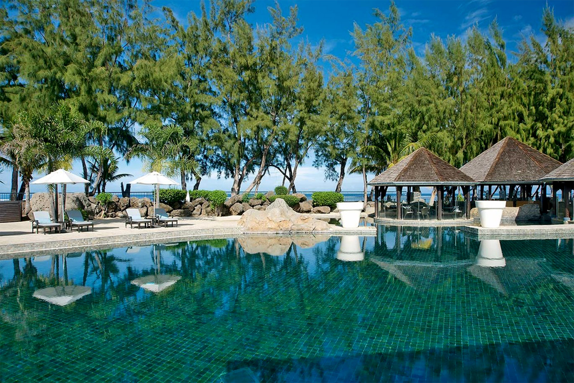 Beautiful pool facing view of Lux Saitn Gilles Resort on Reunion Island in Madagascar